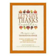 Give Thanks Autumn Wreath Thanksgiving Invitation Thanksgiving