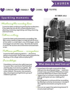 Making progress | learning through play. Great idea to use as portfolio pages for every child in your centres.