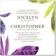 #lime green and #purple Signature White Textured  #Wedding Invitations Tropical Glamour