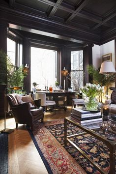 Traditional Living Room: A traditional brown and white living room..
