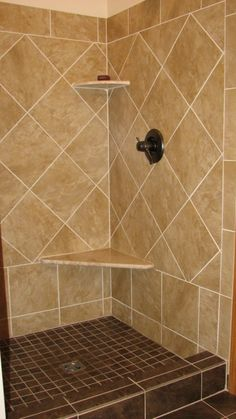 Image Detail for - this shower has 12x12 travertine tile layed on a ...