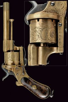 A rare and fine pin-fire revolver,    provenance:	 	Italy dating:	 	third quarter of the 19th Century.