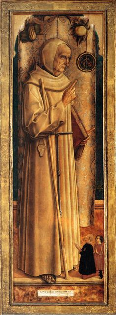 Crivelli-St James of the Marches with Two Kneeling Donors  1477  Wood, 198 x 64 cm  Musée du Louvre, Paris (love the little donors...)