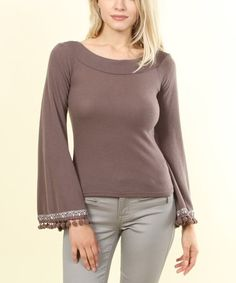Look what I found on #zulily! Mauve Bell-Sleeve Scoop Neck Top #zulilyfinds