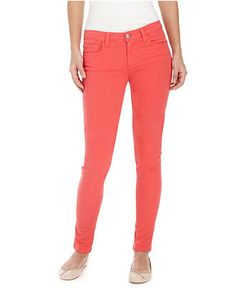 Coral colored skinny jeans. Just bought a pair today. Could wear with white top. How about denim jacket? How about black? I could definitely make these work with my wardrobe :D