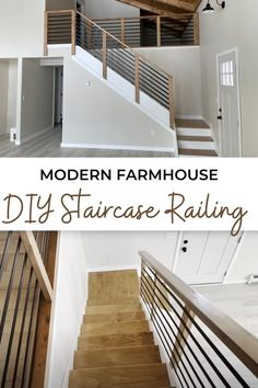 Tutorial to make your own DIY staircase railing. No welding and basic tools make this a very affordable and DIY friendly project. Beautiful mixed wood and metal create an on-trend modern farmhouse look. Original design created by Ana-White.com. #anawhite #diy #diyfurniture #anawhiteplans #staircaserailing Diy Staircase Railing, Staircase Design, Stairs Skirting, Loft Railing, Stair Handrail, Staircases, Fixer Upper Living Room, Diy House Projects, Ana White