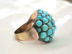 Huge 14K Rose Gold Persian Turquoise Pave Dome Ring Antique