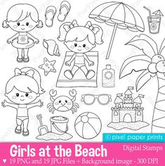 Girls at the Beach - Digital Stamps