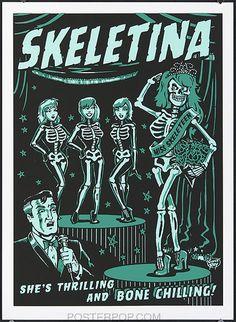 vince ray, art, zombie, skeleton, beauty queen, horror, green
