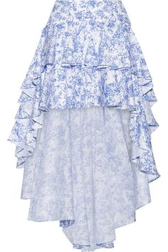 GABRIELLE'S AMAZING FANTASY CLOSET | Caroline Constas' Blue & White Toile Asymmetric Skirt with Double Ruffles all around the hem. I'm showing it with the Matching Off-The-Shoulder Top. You can see the Whole Outfit and my Remarks on this board. - Gabrielle