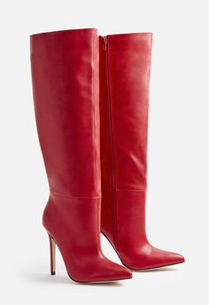 Dare to shine in these super fun stiletto heel boots with an inner zip closure and metallic finish. High Leather Boots, High Heel Boots, Heeled Boots, Bootie Boots, High Heels, Red Boots, 4 Inch Heels, Punk Fashion, Lady In Red