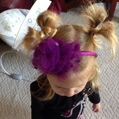 """#minniebows #hairdo clearly can see what side I tried first #lol #toddlerhairstyles #adorable #instahair"""