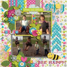 {A Year In Review: June} Digital Scrapbooking Template by Tinci Designs http://store.gingerscraps.net/A-year-in-review-June.html and {Bee Bloom} by Keley Designs http://store.gingerscraps.net/Bee-Bloom-by-Keley-Designs.html