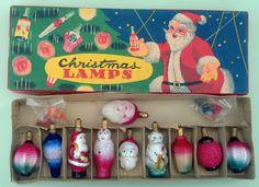 Old Vintage Antique Figural Christmas Light Bulb set original box lot of 10