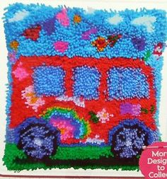 "LATCH HOOK   RUG/ PILLOW  KIT  ""A CAMPER VAN"" LATCH TOOL INCLUDED 