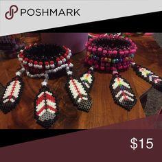 KANDI FEATHER CUFF  Specially made rave/ festival wear kandi  Jewelry Bracelets