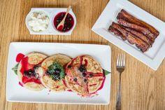 Blueberry and Yuzu Soba Pancakes, Kurobuta Bacon