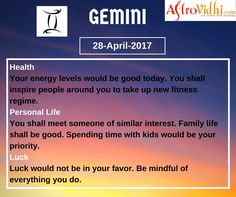 Read Your Free Gemini Daily Horoscope (28-April-2017). Read detailed horoscope at astrovidhi.com. Sagittarius Daily Horoscope, Gemini Daily, Daily Zodiac, Zodiac Signs Gemini, Medical Help, The Day Will Come, Positive Outlook, News Health, New Relationships