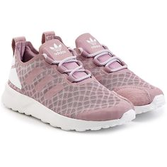 Adidas Originals ZX Flux ADV Verve Sneakers ($99) ❤ liked on Polyvore featuring shoes, sneakers, rose, adidas originals sneakers, adidas originals, print sneakers, mesh sneakers and rose shoes