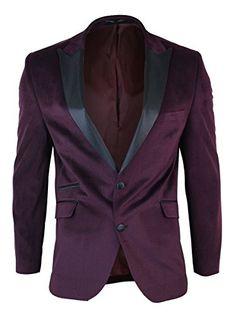 CB Mens Slim Fit 1 Button Velvet Blazer Tuxedo Dinner Jacket Maroon Burgundy Black wine 38