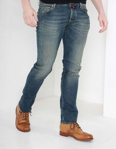 Nick has a straight leg fit with all button fly and five pocket design. He is available here in a dirty wash and has contrast tan top stitching as well as a striped red tab to the centre of the fly. Top Stitching, Denim Jeans, Stockings, Mens Fashion, Legs, Pants, Shopping, Clothes, Style