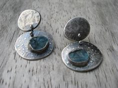 Sterling silver double pebble earrings with by LisaColbyMetalsmith, $150.00