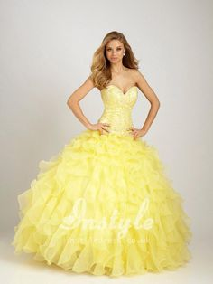 8c0c9ef2bed strapless sweetheart cascade ruffled yellow quinceanera dress 15 Dresses