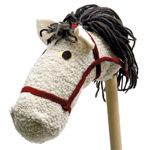 Homemade Hobbyhorse - assembled in about an hour from a dowel and fuzzy slipper sock - cute!