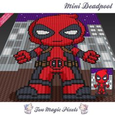 Looking for your next project? You're going to love Mini Deadpool inspired c2c graph pattern by designer TwoMagicPixels.