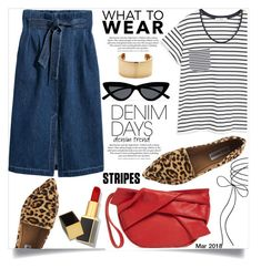 """""""Jean Dreams: Denim Skirts"""" by shiroh ❤ liked on Polyvore featuring H&M, MANGO, Topshop, Steve Madden, Le Specs, Saskia Diez, Tom Ford, stripes, LeopardPrint and denimskirts"""