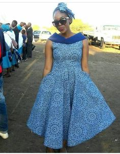 Blue  floral Ankara dress