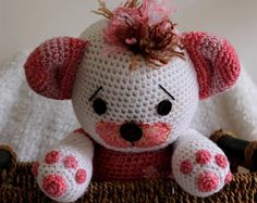 White Teddy Bear, Pastel Pencils, Amigurumi Doll, Nursery Decor, Little Girls, Hello Kitty, Crochet Patterns, Handmade Items, Wool
