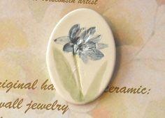 SPRING LAWN FLOWER pin handmade ceramic by FaithAnnOriginals, $12.00