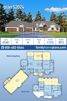 Craftsman, Modern Farmhouse, Modern House Plan 52024 with 4 Beds, 4 Baths, 5 Car Garage Luxury House Plans, Dream House Plans, House Floor Plans, 5 Car Garage, Garage House, Porch Storage, Huge Master Bedroom, Roof Plan, Log Cabin Homes
