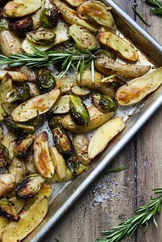 Roasted fingerling potatoes pair nicely with Brussels sprouts, rosemary and garlic.