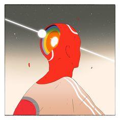 Metaphysical inner landscapes: dreamlike illustrations by Victor Mosquera Comics Illustration, Illustration Artists, Illustrations, Digital Illustration, Vaporwave, Glitch, 70s Sci Fi Art, Art Plastique, Artist At Work