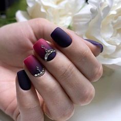 Extraordinary nails, Gradient manicure with gel polish, Gradient nails with a transition, Interesting nails, Nails with gems, Nails with stones, Obmre nails, Unusual nails