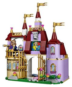 Features a 2-story Enchanted Castle with a ballroom area, kitchen, dining room, bedroom and balcony room. First floor features a ballroom area with chandelier, glass window, revolving dance floor, library area, dining room with a table and a kitchen with a trolley for Mrs. Potts and Chip. Accessory elements include a book, magic mirror, cakes, goblet, frying pan and a wig for the handsome prince. toys4mykids.com