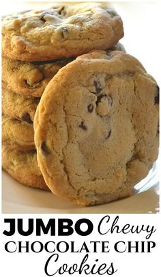 BIG, Thick, Jumbo Chewy Chocolate Chip Cookies | www.craftycooking...