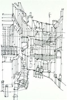 Ruth Aleen - Architecture Artists, Watercolor Sketch, Urban Sketching, Built Environment, Environmental Art, Urban Art, Line Drawing, Textile Art, Sketches