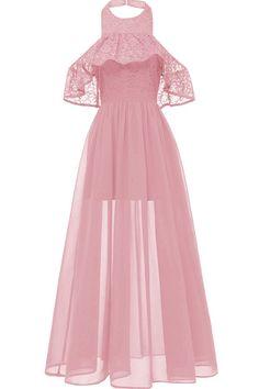 9e5399b8516 Women Pink Lace Halter Sexy Maxi Chiffon Dress - S School Dance Dresses