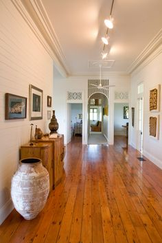 Queenslander character of original hoop pine flooring & walls of white horizontal timber Queenslander House, Pine Floors, Pine Walls, Palette, Australian Homes, House Painting, Home Renovation, House Colors, My Dream Home