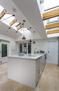 Classic light kitchen with skylights. Planning Applications, Architectural Services, Roof Light, Prefab Homes, Open Plan Kitchen, Kitchen Lighting, Kingston, Home And Family, Skylights