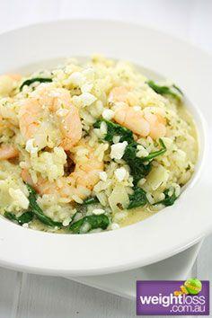 Garlic Prawn Risotto. #HealthyRecipes #DietRecipes #WeightLossRecipes weightloss.com.au