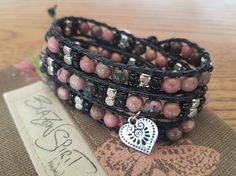 Beaded leather wrap bracelet 6 inch wrist by BlazonSpirit on Etsy Beaded Leather Wraps, Leather Cord, Buttonholes, Black Glass, Heart Charm, Spirit, Beads, Bracelets, Rings