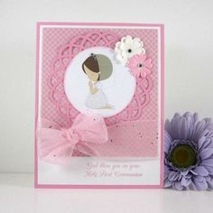 die cut communion card | Communion card, holy first communion card, for girl, religious, pink ...: