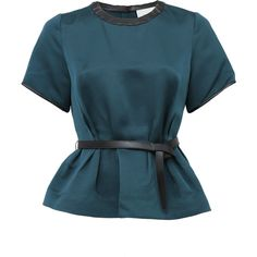 3.1 PHILLIP LIM Belted Peplum Top ($450) ❤ liked on Polyvore featuring tops, blouses, shirts, blusas, dkpetrol, blue blouse, belted peplum top, belted blouse, shirts & blouses and leather blouse
