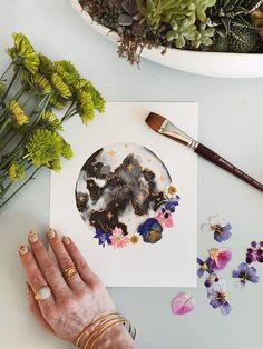 Your place to buy and sell all things handmade Watercolor Moon, Watercolour Painting, Watercolours, Dried And Pressed Flowers, Dried Flowers, Moon Painting, Moon Art, Painting Inspiration, Amazing Art