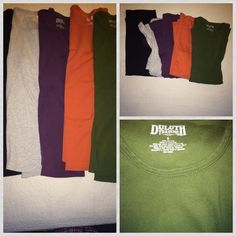 ✨new✨ Bundle of 5 Duluth Trading Co. LS T-shirts bundle of five Longsleeved T-shirts by Duluth Trading Company for women. The shirts are in gently used condition. there is slight Pilling on the front of the gray shirt, there is a tiny bleach spot on the back of the right sleeve, near the cuff, on the purple shirt; as shown in 3rd photo. 100% cotton. shirt colors: black, orange, green, gray, purple. will also sell separately. Duluth Trading Company Tops Tees - Long Sleeve