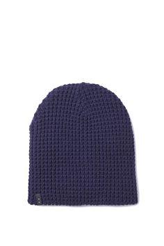 Mens Hopper Beanie. Navy waffle knit